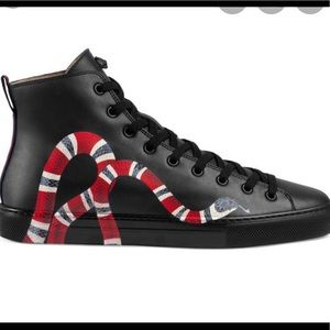 Gucci Men's Snake Print Leather High Top Sneakers